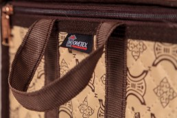 hometex cream clothing box with frame handle and logo