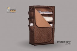 hometex dark brown shelf wardrobe filled with clothes