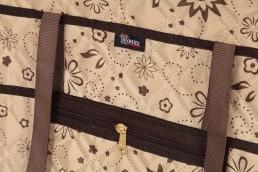 hometex top zip shopping bag flower design handle