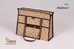 hometex cream top zip shopping bag h design